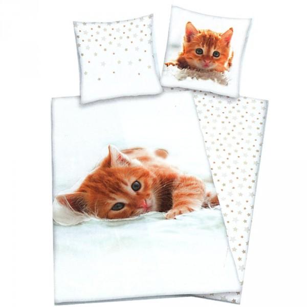 Housse de couette petit chat et taie d 39 oreiller pour lit 1 for Dimension housse de couette pour lit 180x200