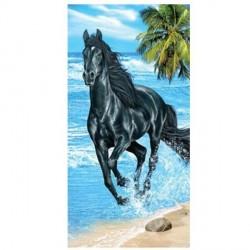 Serviette de plage Cheval noir sur la plage