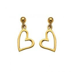 Boucles d'oreilles coeur - plaqué or
