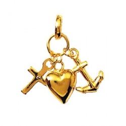 Pendentif  coeur, ancre, croix plaqué or