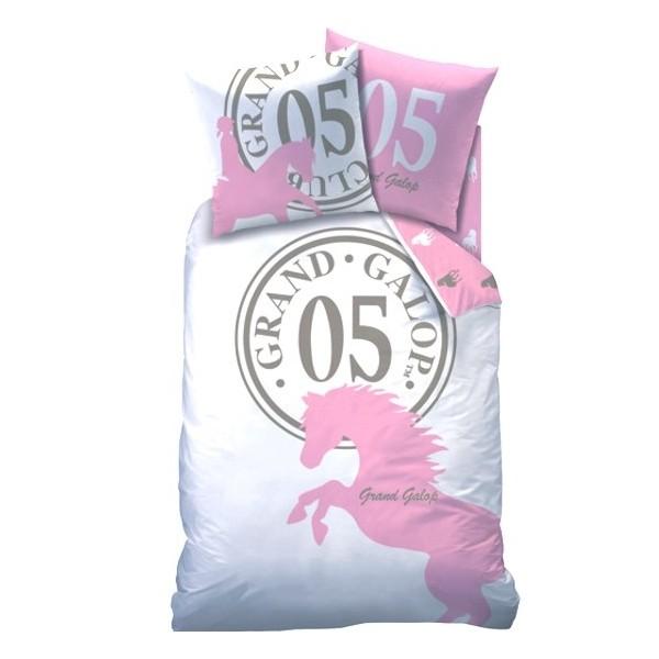 parure de lit motif cheval grand galop five pink cavacado. Black Bedroom Furniture Sets. Home Design Ideas