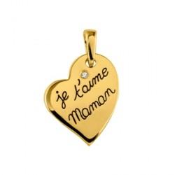 Pendentif je t'aime maman plaqué or