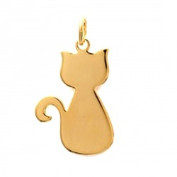 Pendentif Chat - plaqué or