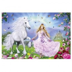 Puzzle Licorne et Princesse - 100 pièces