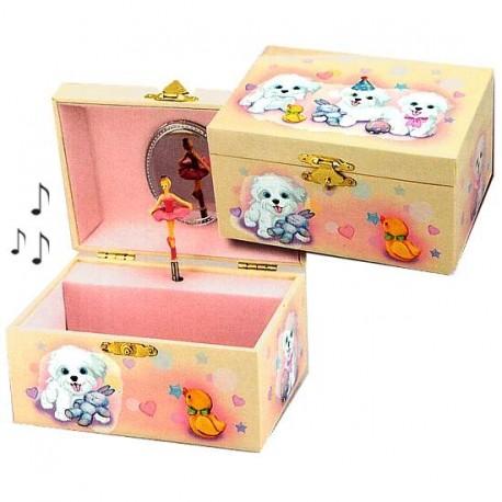 Boite bijoux musicale pour enfants motif petits chiens - Boite a bijoux pour collier ...