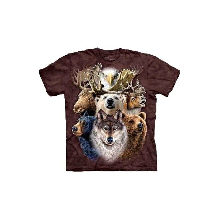 tee shirt animaux the mountain northern wildlife collage cavacado. Black Bedroom Furniture Sets. Home Design Ideas