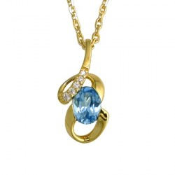 Collier plaqué or topaze bleue de synthèse
