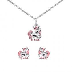 Collier et boucles d'oreilles Cheval argent rose