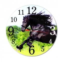 Horloge murale Cheval noir fougueux