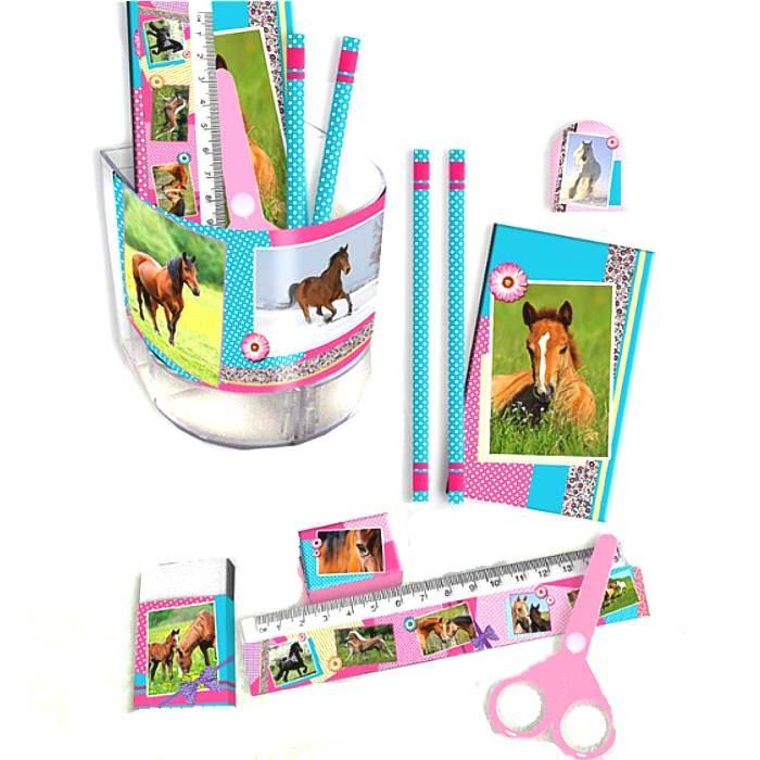 set de bureau rose motif cheval papeterie cheval fille cavacado. Black Bedroom Furniture Sets. Home Design Ideas