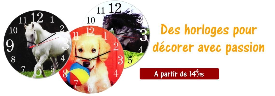 Des horloges avec des décors cheval ou animaux