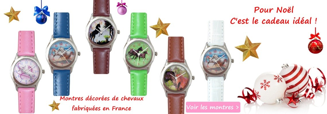 Pour un joli cadeau thème cheval : une montre décorée de chevaux.