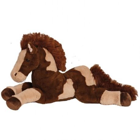 grand cheval en peluche peluche cheval sonore beige et marron cavacado. Black Bedroom Furniture Sets. Home Design Ideas