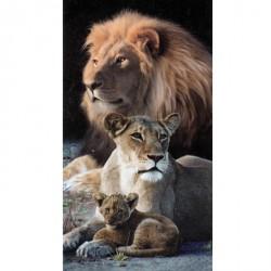 Serviette de plage Lions en famille