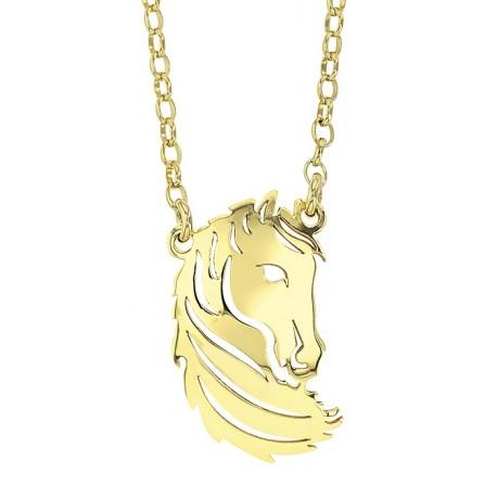 Collier Cheval argent doré