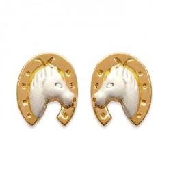 Boucles d'oreilles Tête cheval dans fer bicolore