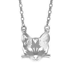 Collier Chat argent