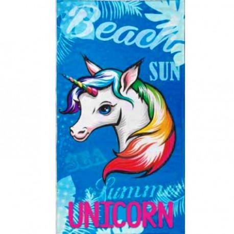 Serviette de plage Licorne bleue - 90 x 170 cm