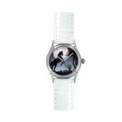 Montre Cheval Cabré noir bracelet blanc