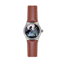 Montre Cheval noir bracelet marron