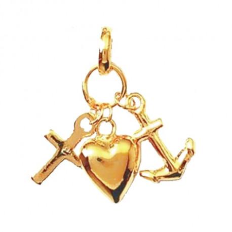 Pendentif coeur marin plaqué or