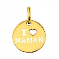 Pendentif I love maman plaqué or