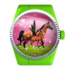 Réveil vert motif Cheval