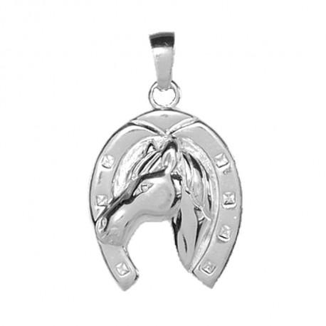 Pendentif Tête de cheval dans fer - argent