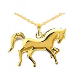 Pendentif Cheval vaillant plaqué or et sa chaîne