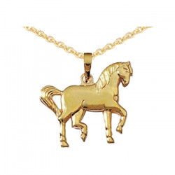 Pendentif Cheval tranquille plaqué or