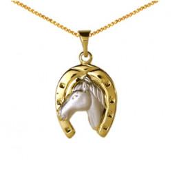 Pendentif Tête de cheval dans fer bicolore mat