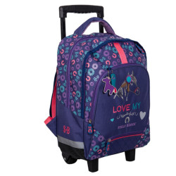 Sac à roulettes - cartable Cheval Love