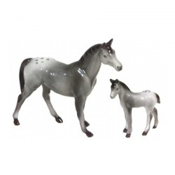 Chevaux gris - Lot de 2 miniatures porcelaine