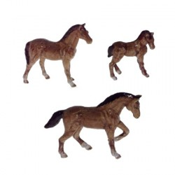 Chevaux bruns - Lot de 3 miniatures porcelaine