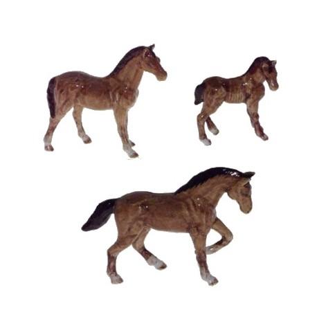 Chevaux bruns - Lot de 3 miniatures porcelaine