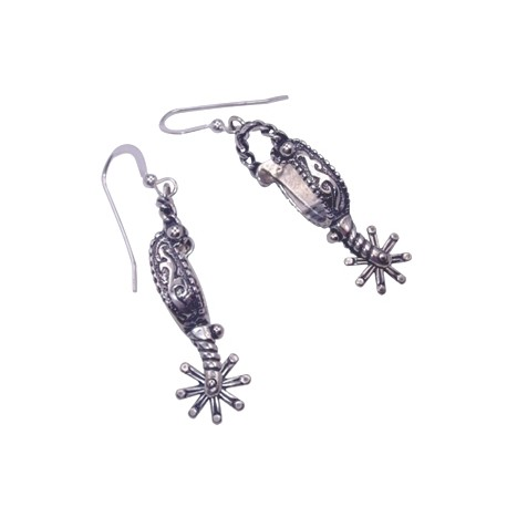 Boucles d'oreilles Cheval Eperons Western - argent