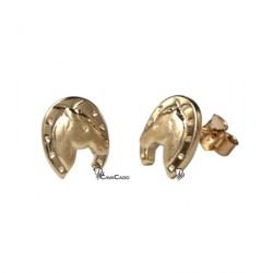 Boucles d'oreilles Tête cheval dans fer - plaqué or