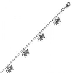 Bracelet breloques chevaux - argent