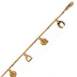 Bracelet cheval, étrier, fer - plaqué or