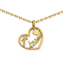 Collier coeur je t'aime - plaqué or