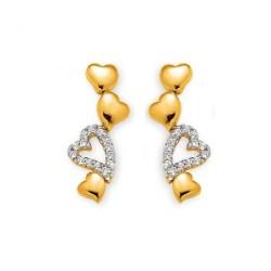 Boucles d'oreilles Cascade de coeurs - PO et oz