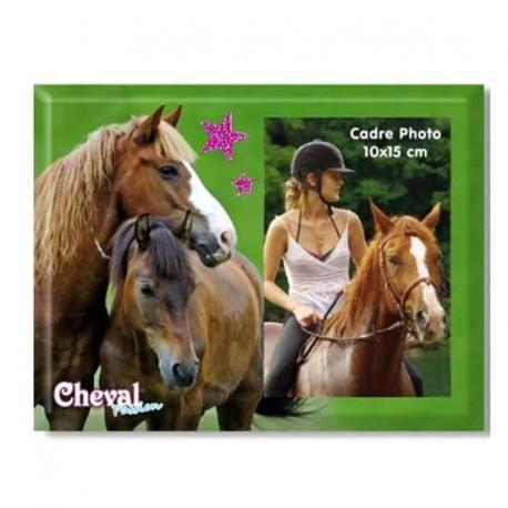 Cadre photo vert Cheval et poney