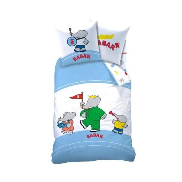 Parure de lit housse de couette enfant avec babar cavacado for Housses de couette enfant