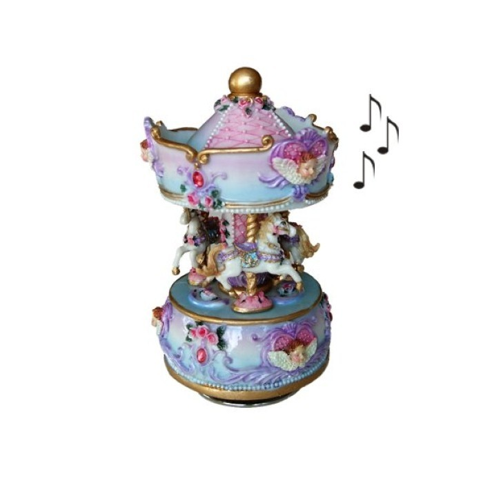 boite a musique carrousel musical motif chevaux cavacado. Black Bedroom Furniture Sets. Home Design Ideas