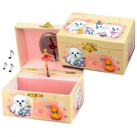 boite bijoux musicale pour enfants motif petits chiens. Black Bedroom Furniture Sets. Home Design Ideas