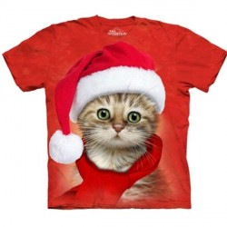 Tee shirt enfant Chat - Santa Cat red