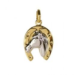 Pendentif Tête de cheval dans fer bicolore