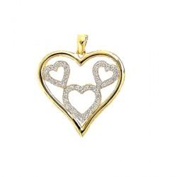 Pendentif mes amours de coeurs - plaqué or et oz