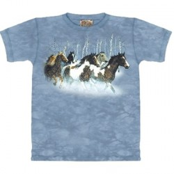 Tee shirt enfant Chevaux en hiver 6/8 ans