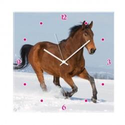 Horloge Cheval dans la neige